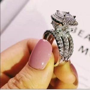 luxury big 925 sterling silver CZ diamond ring